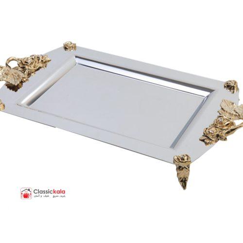 سینی مستطیل نگار مدل رز طلایی متوسط کد 300