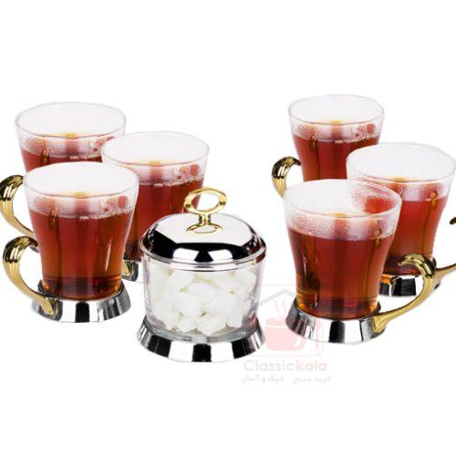 ست چایخوری با قندان طلایی یونیک کد UN-3838